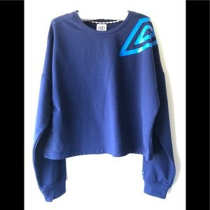 New Umbro Navy Blue Crewneck Cropped Sweatshirt